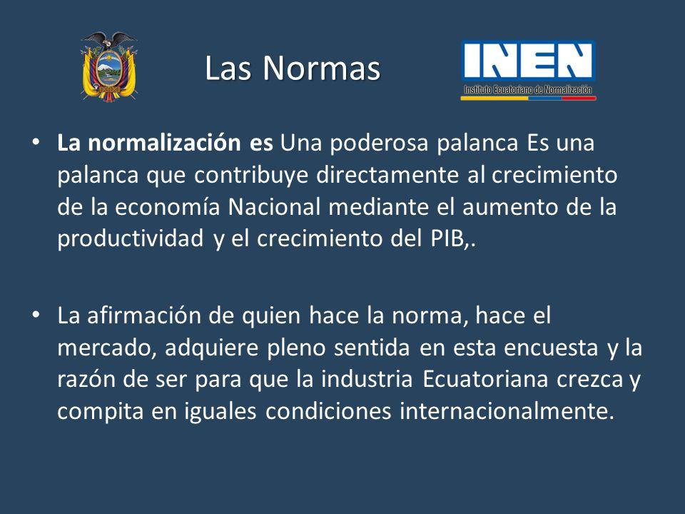 Las Normas La normalización es Una poderosa palanca Es una palanca que contribuye directamente al crecimiento de la economía Nacional mediante el aumento de la productividad y el crecimiento del PIB,.