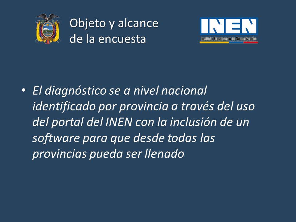 Objeto y alcance de la encuesta El diagnóstico se a nivel nacional identificado por provincia a través del uso del portal del INEN con la inclusión de un software para que desde todas las provincias pueda ser llenado