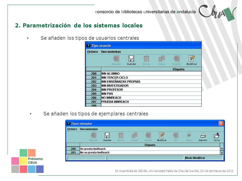 2. Parametrización de los sistemas locales Se añaden los tipos de usuarios centrales Se añaden los tipos de ejemplares centrales IX Asamblea de GEUIN,