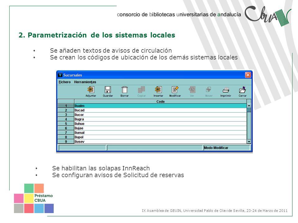 2. Parametrización de los sistemas locales Se añaden textos de avisos de circulación Se crean los códigos de ubicación de los demás sistemas locales S