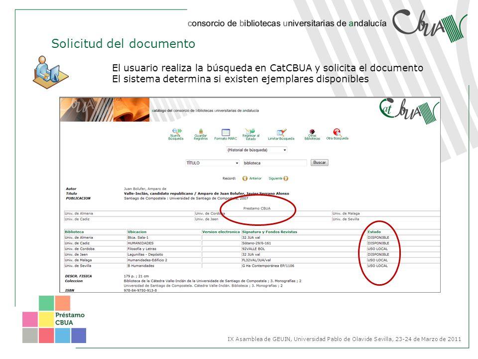 Solicitud del documento El usuario realiza la búsqueda en CatCBUA y solicita el documento El sistema determina si existen ejemplares disponibles IX As