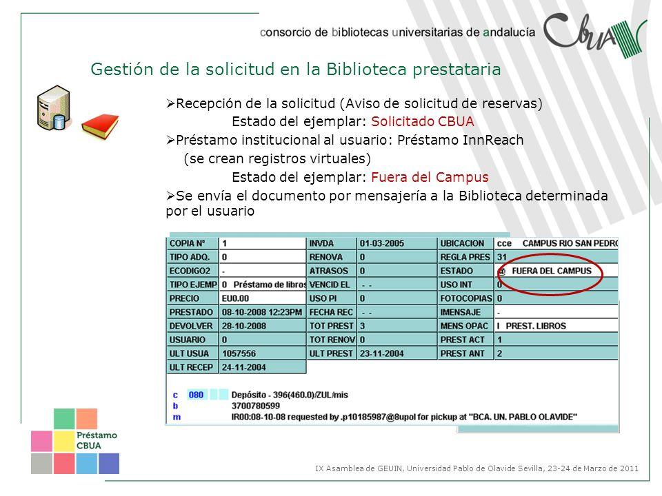 Gestión de la solicitud en la Biblioteca prestataria Recepción de la solicitud (Aviso de solicitud de reservas) Estado del ejemplar: Solicitado CBUA P