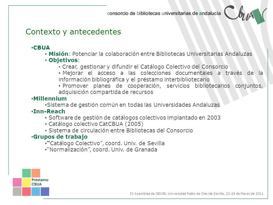 CBUA Misión: Potenciar la colaboración entre Bibliotecas Universitarias Andaluzas Objetivos: Crear, gestionar y difundir el Catálogo Colectivo del Con