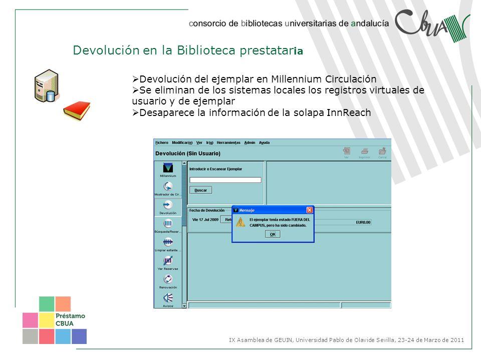 Devolución del ejemplar en Millennium Circulación Se eliminan de los sistemas locales los registros virtuales de usuario y de ejemplar Desaparece la i