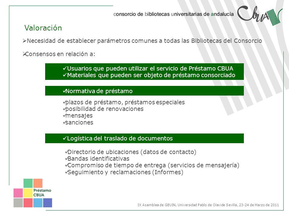 Valoración Necesidad de establecer parámetros comunes a todas las Bibliotecas del Consorcio Consensos en relación a: IX Asamblea de GEUIN, Universidad