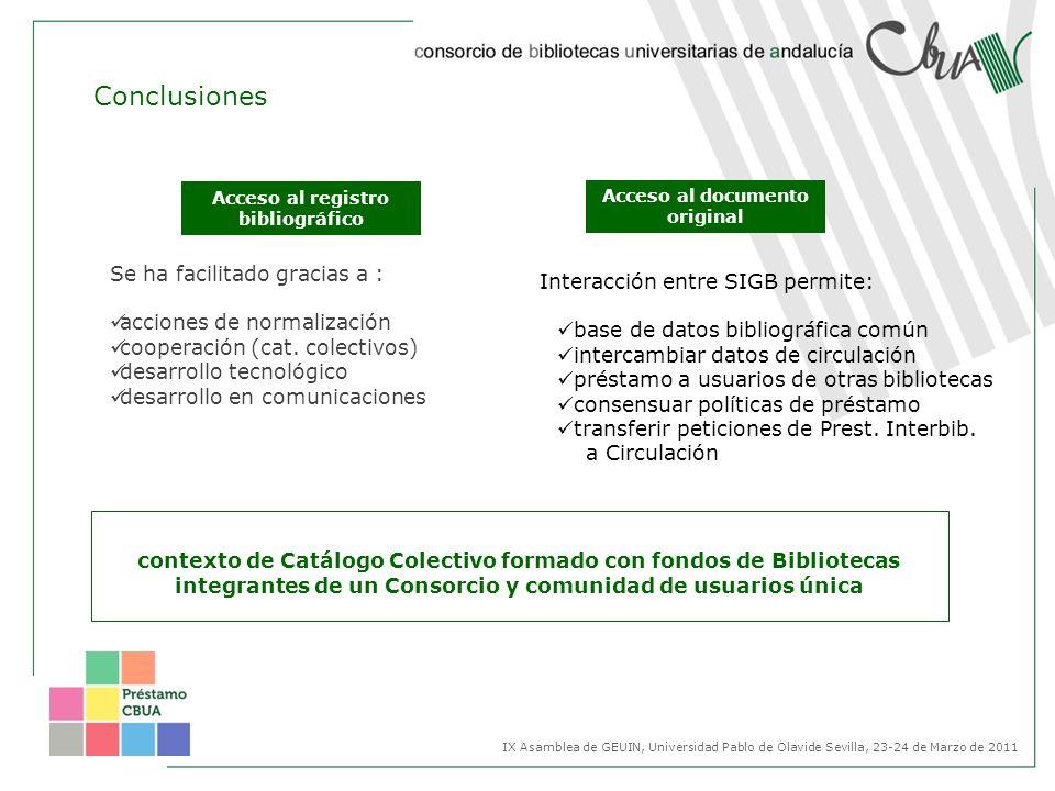 contexto de Catálogo Colectivo formado con fondos de Bibliotecas integrantes de un Consorcio y comunidad de usuarios única IX Asamblea de GEUIN, Unive