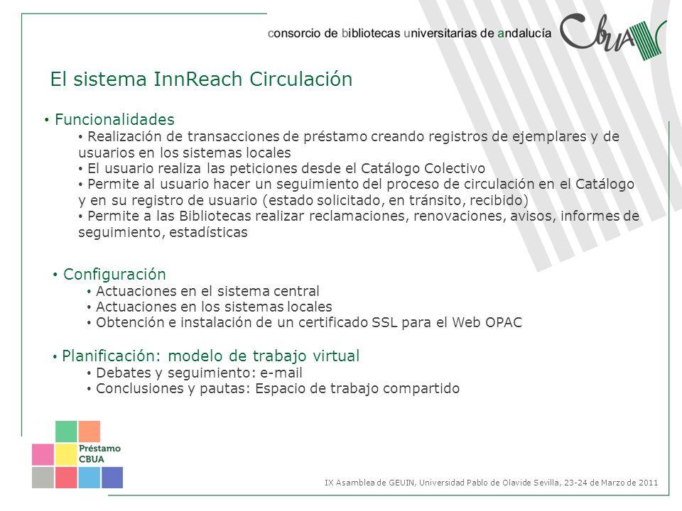 El sistema InnReach Circulación Configuración Actuaciones en el sistema central Actuaciones en los sistemas locales Obtención e instalación de un cert