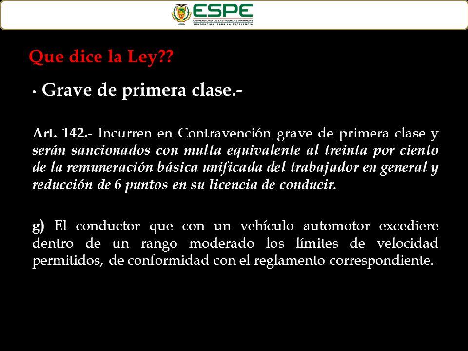 Grave de primera clase.- Art. 142.- Incurren en Contravención grave de primera clase y serán sancionados con multa equivalente al treinta por ciento d