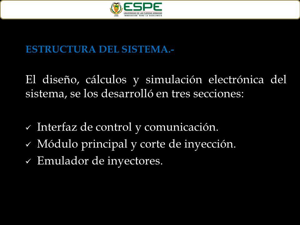ESTRUCTURA DEL SISTEMA.- El diseño, cálculos y simulación electrónica del sistema, se los desarrolló en tres secciones: Interfaz de control y comunica