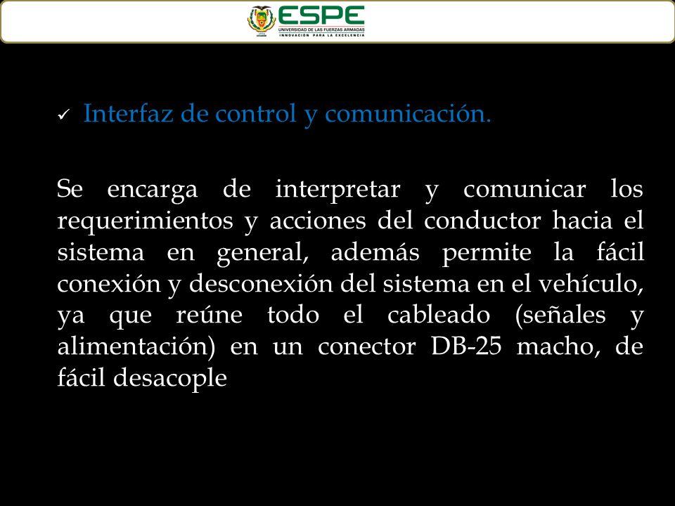 Interfaz de control y comunicación. Se encarga de interpretar y comunicar los requerimientos y acciones del conductor hacia el sistema en general, ade
