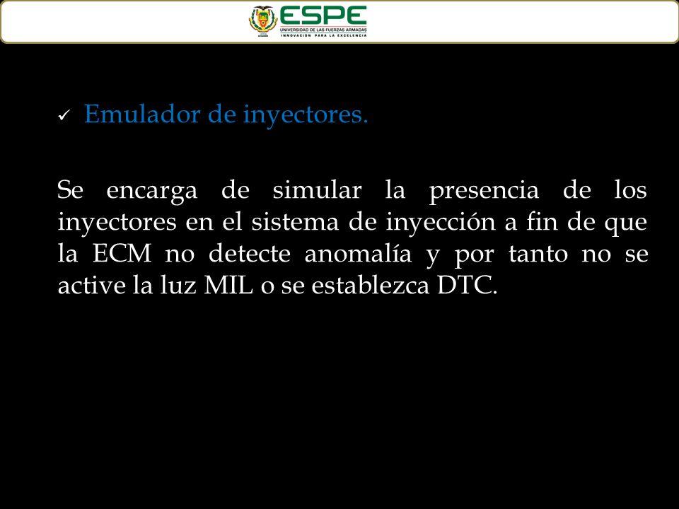 Emulador de inyectores. Se encarga de simular la presencia de los inyectores en el sistema de inyección a fin de que la ECM no detecte anomalía y por