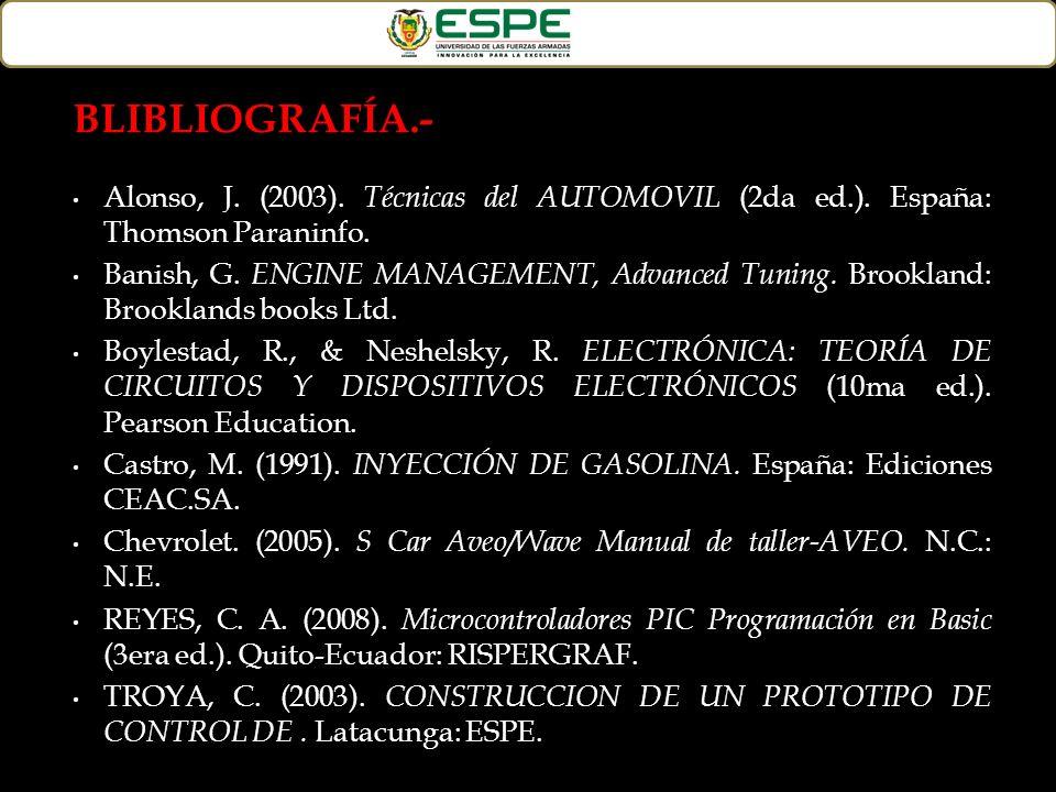 BLIBLIOGRAFÍA.- Alonso, J. (2003). Técnicas del AUTOMOVIL (2da ed.). España: Thomson Paraninfo. Banish, G. ENGINE MANAGEMENT, Advanced Tuning. Brookla