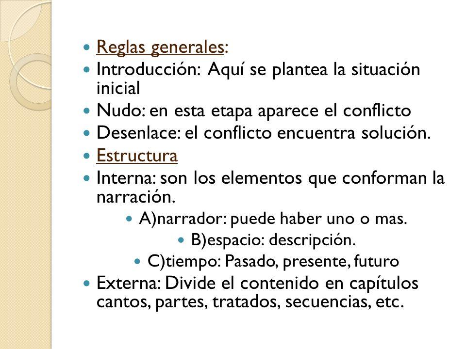 Reglas generales: Introducción: Aquí se plantea la situación inicial Nudo: en esta etapa aparece el conflicto Desenlace: el conflicto encuentra soluci