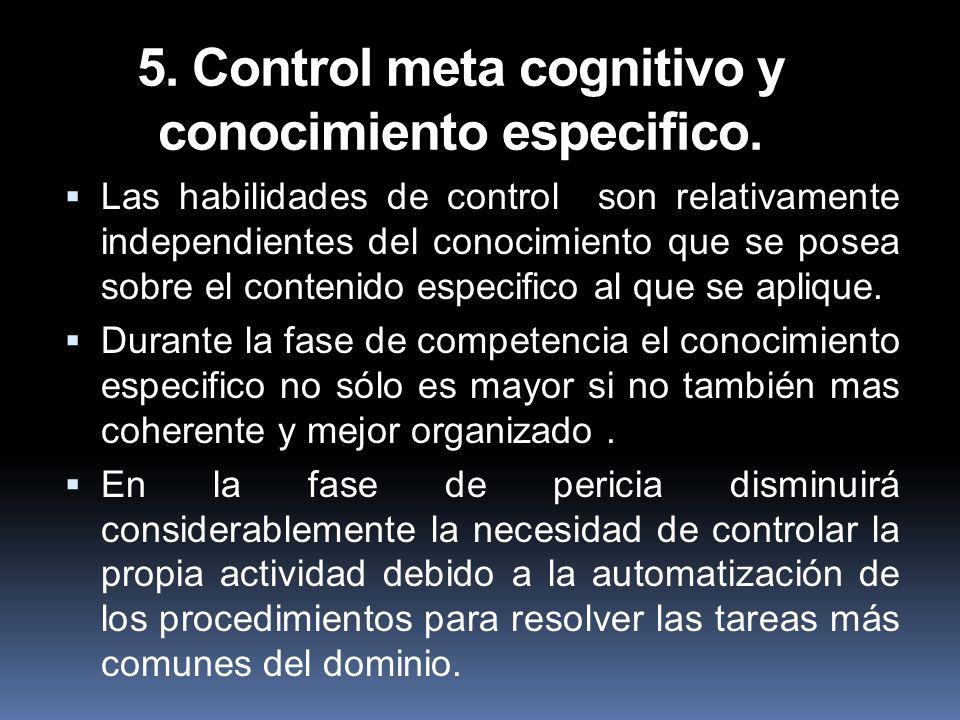 5. Control meta cognitivo y conocimiento especifico. Las habilidades de control son relativamente independientes del conocimiento que se posea sobre e