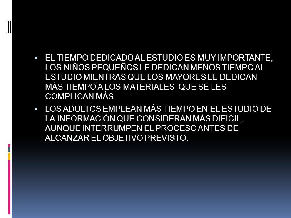EL TIEMPO DEDICADO AL ESTUDIO ES MUY IMPORTANTE, LOS NIÑOS PEQUEÑOS LE DEDICAN MENOS TIEMPO AL ESTUDIO MIENTRAS QUE LOS MAYORES LE DEDICAN MÁS TIEMPO
