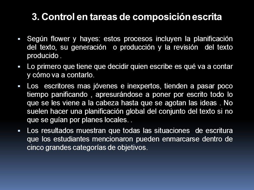 3. Control en tareas de composición escrita Según flower y hayes: estos procesos incluyen la planificación del texto, su generación o producción y la