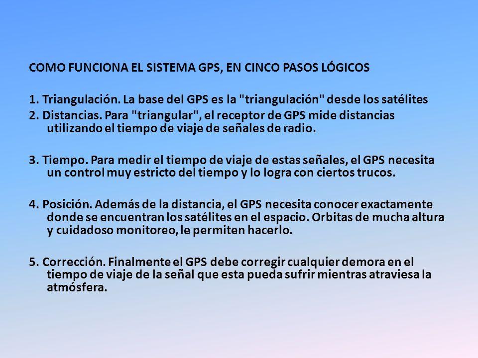 COMO FUNCIONA EL SISTEMA GPS, EN CINCO PASOS LÓGICOS 1. Triangulación. La base del GPS es la