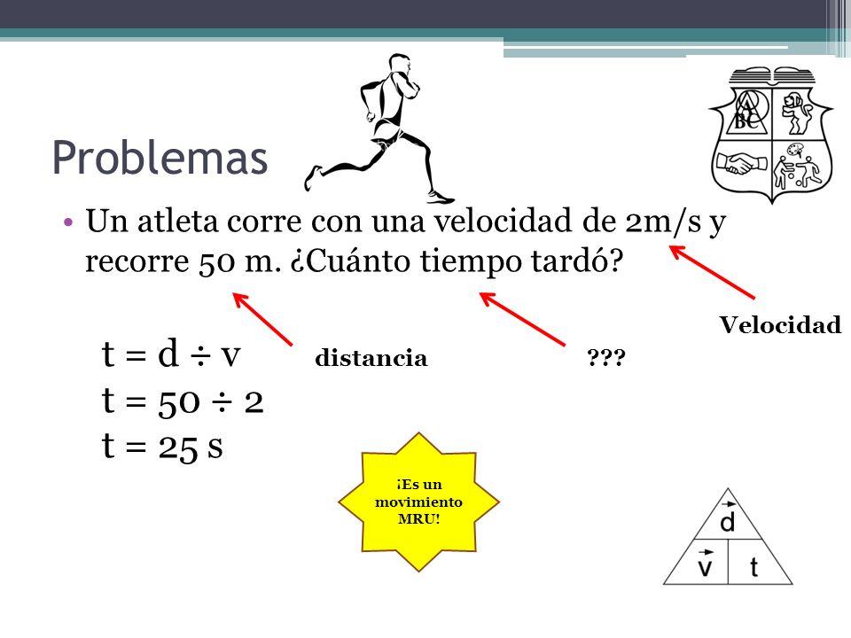 Problemas Un atleta corre con una velocidad de 2m/s y recorre 50 m. ¿Cuánto tiempo tardó? Velocidad distancia??? t = d ÷ v t = 50 ÷ 2 t = 25 s ¡Es un