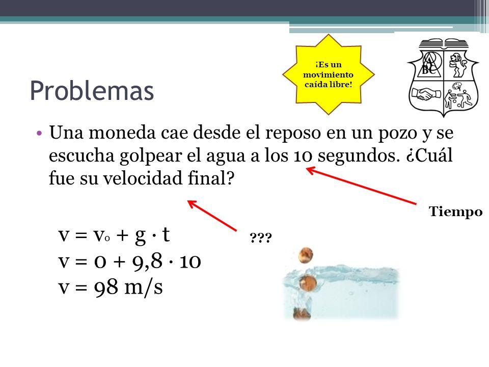 Problemas Una moneda cae desde el reposo en un pozo y se escucha golpear el agua a los 10 segundos. ¿Cuál fue su velocidad final? Tiempo ??? v = v o +