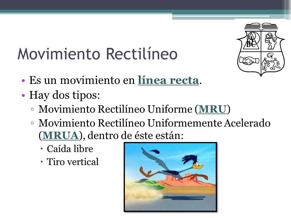 Movimiento Rectilíneo Es un movimiento en línea recta. Hay dos tipos: Movimiento Rectilíneo Uniforme (MRU) Movimiento Rectilíneo Uniformemente Acelera