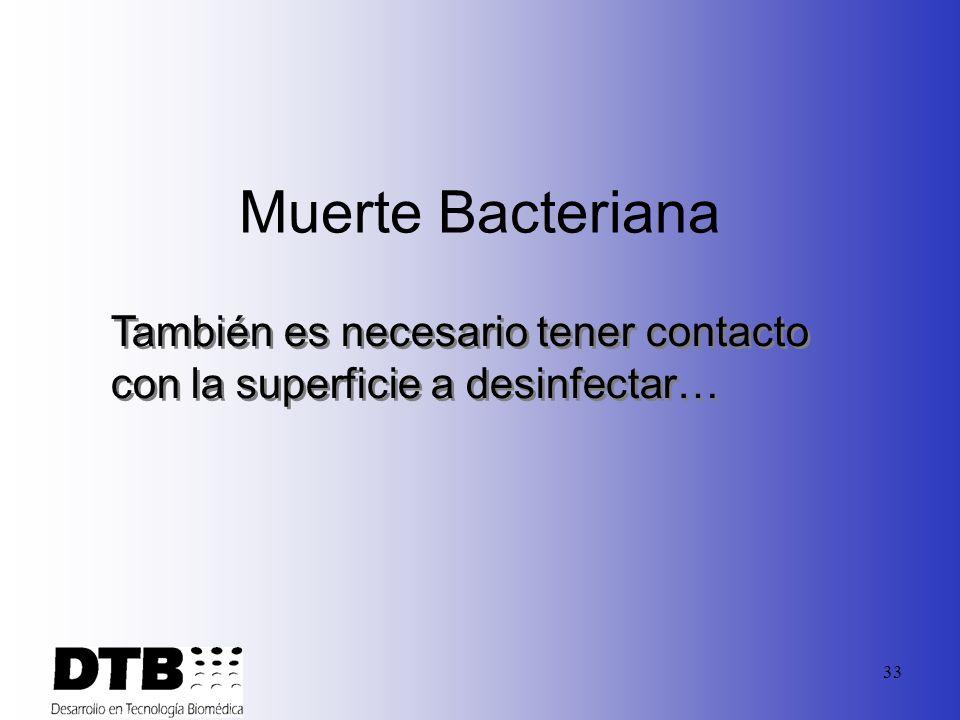 32 Muerte Bacteriana Concentración Tiempo Temperatura Para que un germicída sea efectivo, se tienen que cumplir tres condiciones: