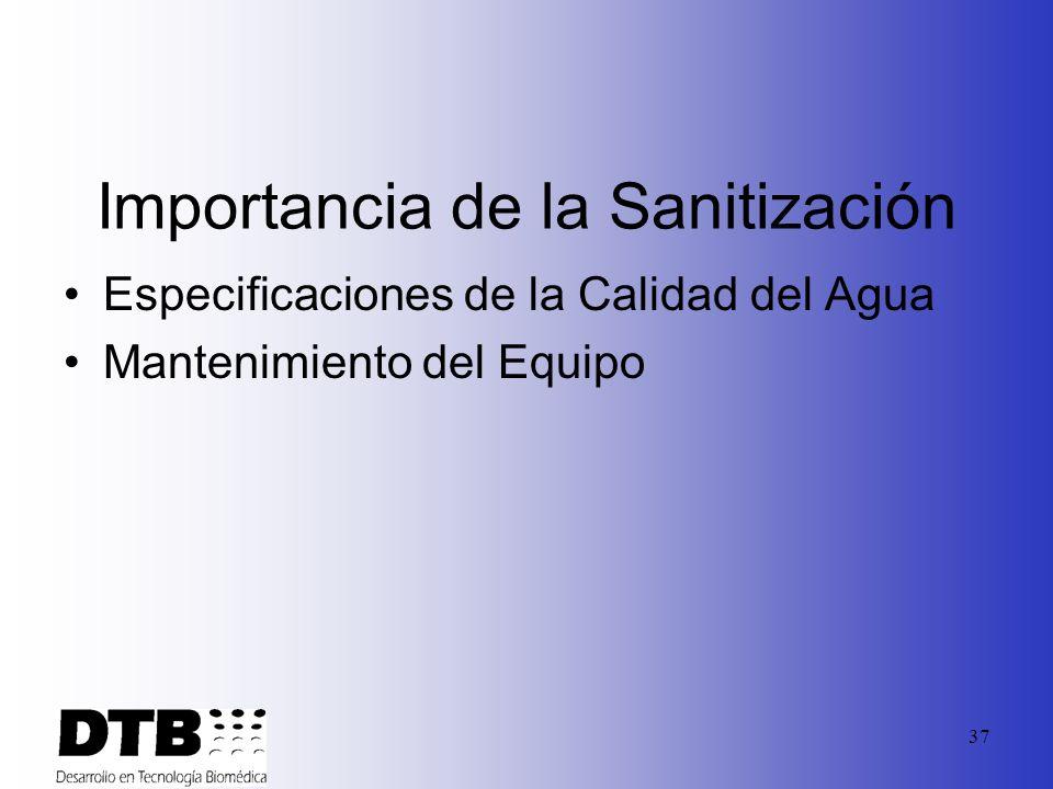 36 Guías Generales de Sanitización Importancia del diseño sanitario Monitoreo Compatibilidad Química Concentración/ Tiempo de contacto No mezclar quím