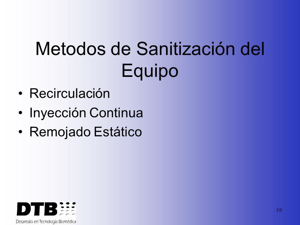 38 Frecuencia de Sanitización Especificaciones Bacteriales Diseño del Sistema Razón de Operación Condiciones del Agua Paros de los equipos