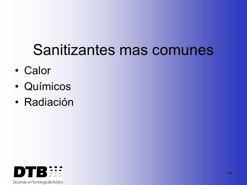 41 Como escoger un sanitizante: Efectividad Compatibilidad Disponibilidad Manejo/seguridad Costo Facilidad de uso
