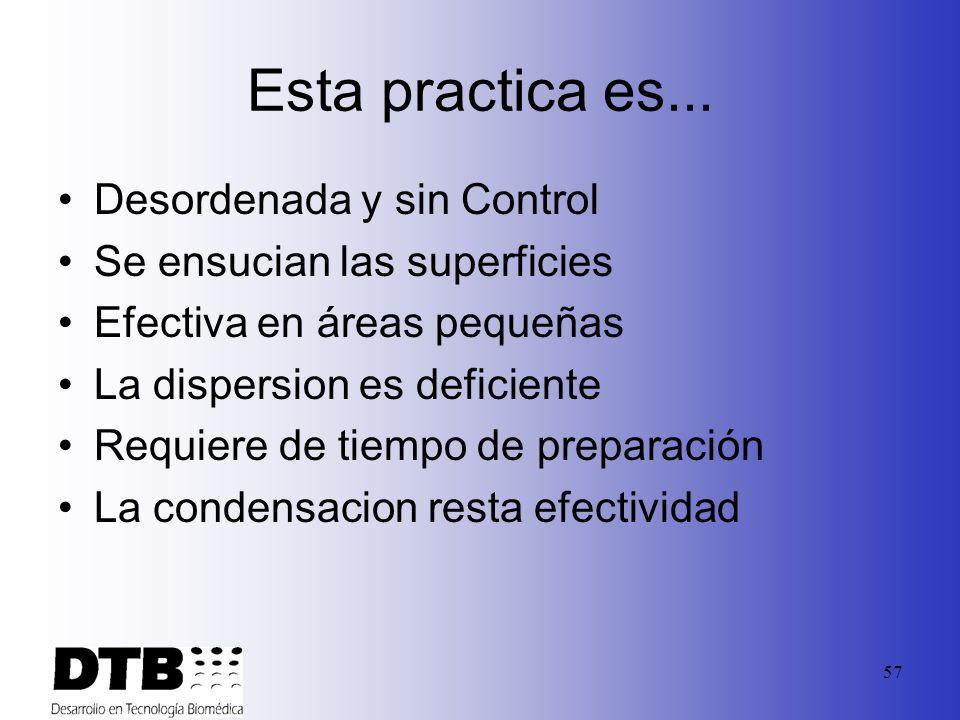 56 Metos tradicionales de Desinfeccion de las areas… 1. Práctica actual Uso de líquido desinfectante Nebulizado en Húmedo (Producción de gotas) Protec