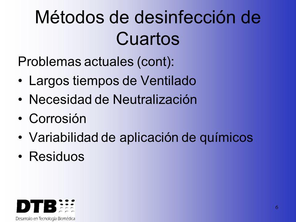 6 Métodos de desinfección de Cuartos Problemas actuales (cont): Largos tiempos de Ventilado Necesidad de Neutralización Corrosión Variabilidad de aplicación de químicos Residuos
