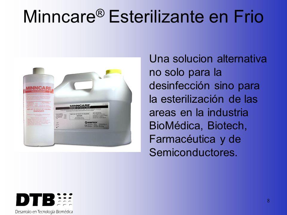 8 Minncare ® Esterilizante en Frio Una solucion alternativa no solo para la desinfección sino para la esterilización de las areas en la industria BioMédica, Biotech, Farmacéutica y de Semiconductores.