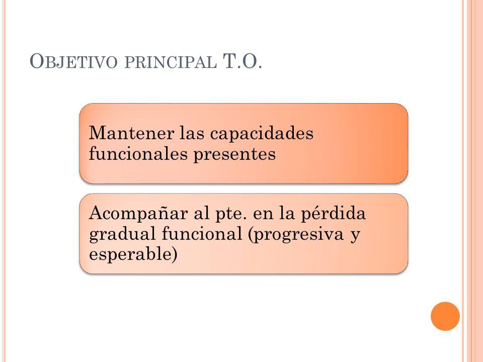 O BJETIVO PRINCIPAL T.O. Mantener las capacidades funcionales presentes Acompañar al pte. en la pérdida gradual funcional (progresiva y esperable)