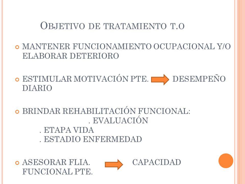 O BJETIVO DE TRATAMIENTO T. O MANTENER FUNCIONAMIENTO OCUPACIONAL Y/O ELABORAR DETERIORO ESTIMULAR MOTIVACIÓN PTE. DESEMPEÑO DIARIO BRINDAR REHABILITA