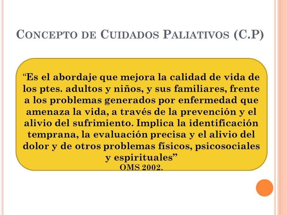 C ONCEPTO DE C UIDADOS P ALIATIVOS (C.P) Es el abordaje que mejora la calidad de vida de los ptes. adultos y niños, y sus familiares, frente a los pro