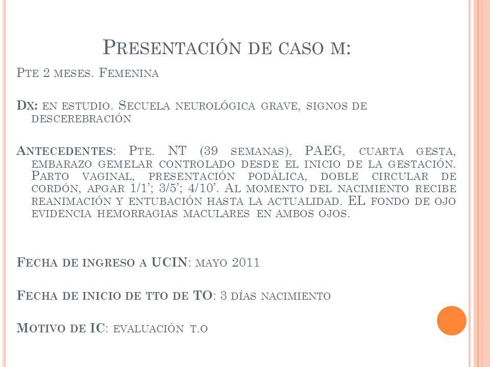 P RESENTACIÓN DE CASO M : P TE 2 MESES. F EMENINA D X : EN ESTUDIO. S ECUELA NEUROLÓGICA GRAVE, SIGNOS DE DESCEREBRACIÓN A NTECEDENTES : P TE. NT (39