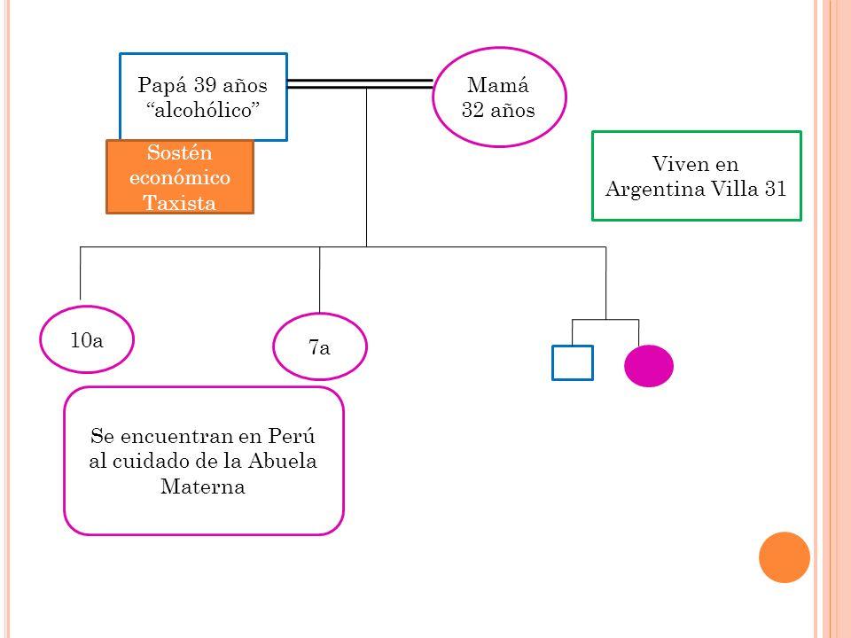 Papá 39 años alcohólico Mamá 32 años 10a 7a Sostén económico Taxista Se encuentran en Perú al cuidado de la Abuela Materna Viven en Argentina Villa 31