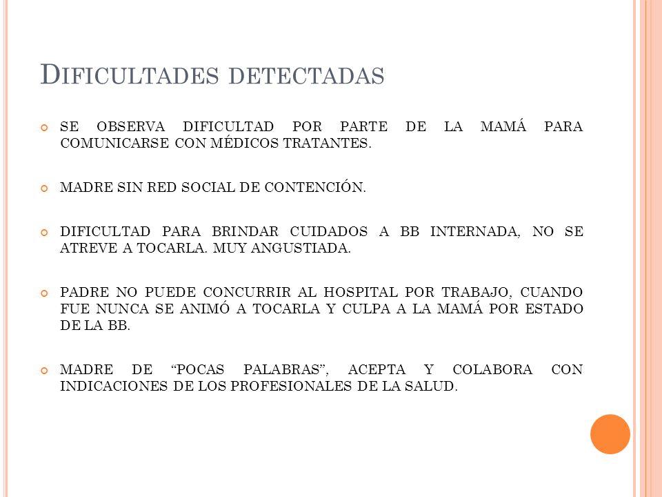 D IFICULTADES DETECTADAS SE OBSERVA DIFICULTAD POR PARTE DE LA MAMÁ PARA COMUNICARSE CON MÉDICOS TRATANTES. MADRE SIN RED SOCIAL DE CONTENCIÓN. DIFICU