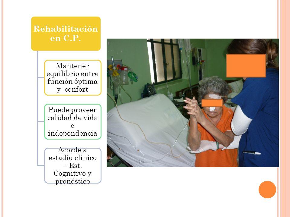 Rehabilitación en C.P. Mantener equilibrio entre función óptima y confort Puede proveer calidad de vida e independencia Acorde a estadio clínico – Est