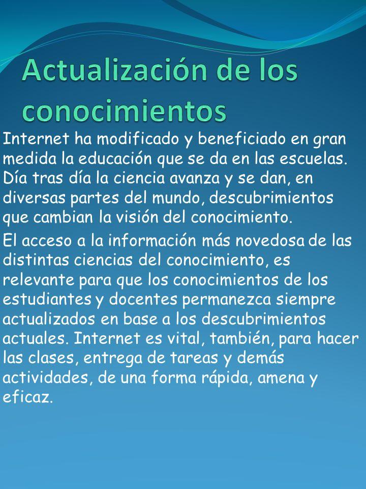 Internet ha modificado y beneficiado en gran medida la educación que se da en las escuelas. Día tras día la ciencia avanza y se dan, en diversas parte
