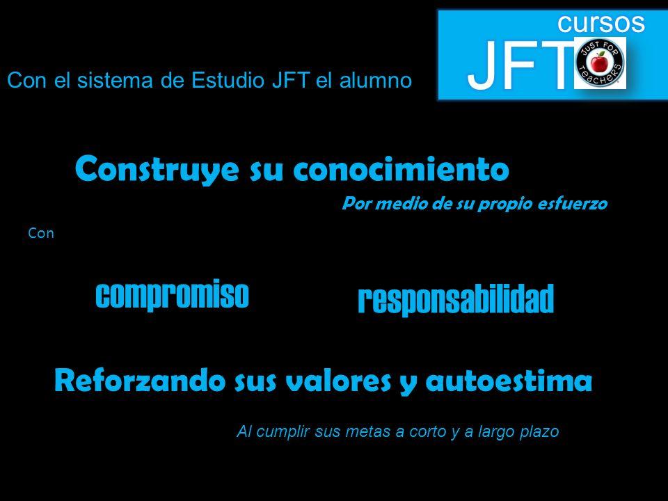 Con el sistema de Estudio JFT el alumno Construye su conocimiento Por medio de su propio esfuerzo compromiso responsabilidad Reforzando sus valores y autoestima Al cumplir sus metas a corto y a largo plazo Con