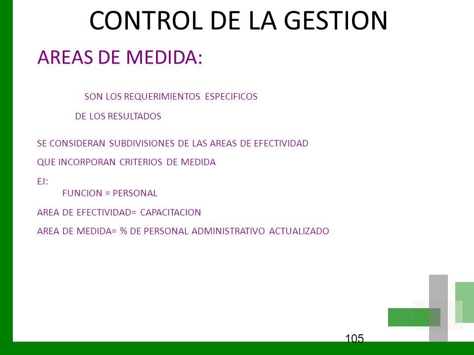 CONTROL DE LA GESTION AREAS DE MEDIDA: SON LOS REQUERIMIENTOS ESPECIFICOS DE LOS RESULTADOS SE CONSIDERAN SUBDIVISIONES DE LAS AREAS DE EFECTIVIDAD QU
