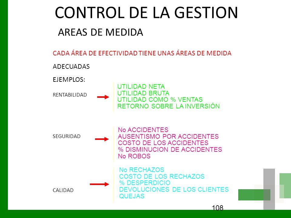 CONTROL DE LA GESTION AREAS DE MEDIDA CADA ÁREA DE EFECTIVIDAD TIENE UNAS ÁREAS DE MEDIDA ADECUADAS EJEMPLOS: RENTABILIDAD SEGURIDAD CALIDAD 108 UTILI