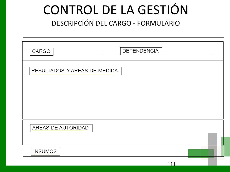 CONTROL DE LA GESTIÓN DESCRIPCIÓN DEL CARGO - FORMULARIO 111 CARGO DEPENDENCIA RESULTADOS Y AREAS DE MEDIDA AREAS DE AUTORIDAD INSUMOS