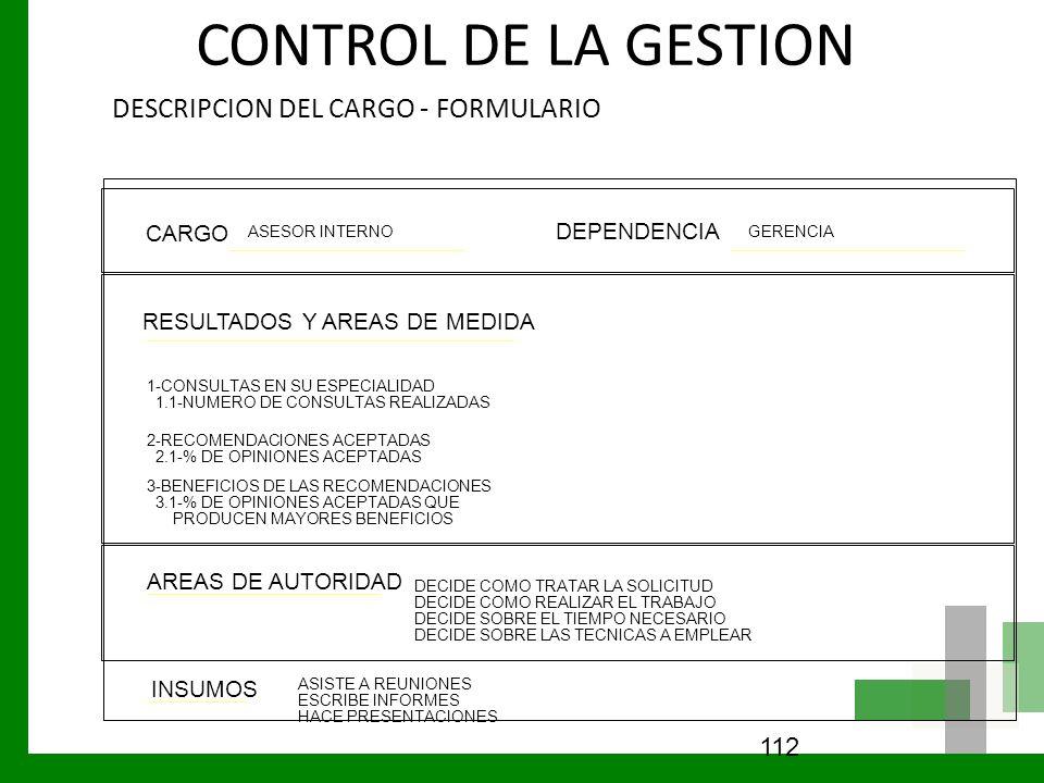 CONTROL DE LA GESTION DESCRIPCION DEL CARGO - FORMULARIO 112 CARGO DEPENDENCIA RESULTADOS Y AREAS DE MEDIDA AREAS DE AUTORIDAD INSUMOS ASESOR INTERNOG