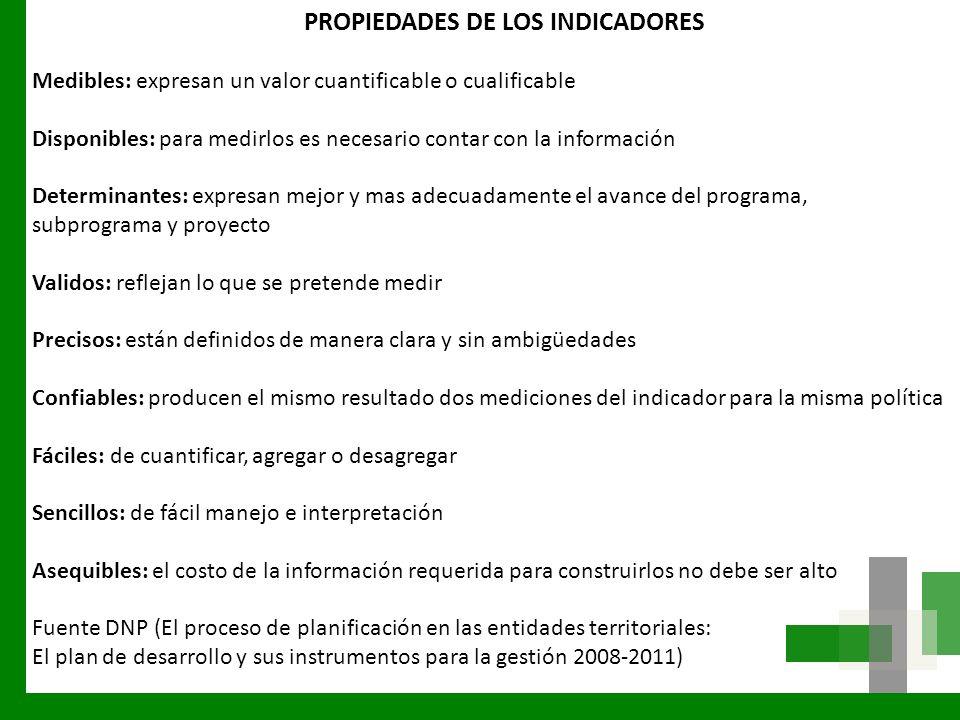 PROPIEDADES DE LOS INDICADORES Medibles: expresan un valor cuantificable o cualificable Disponibles: para medirlos es necesario contar con la informac