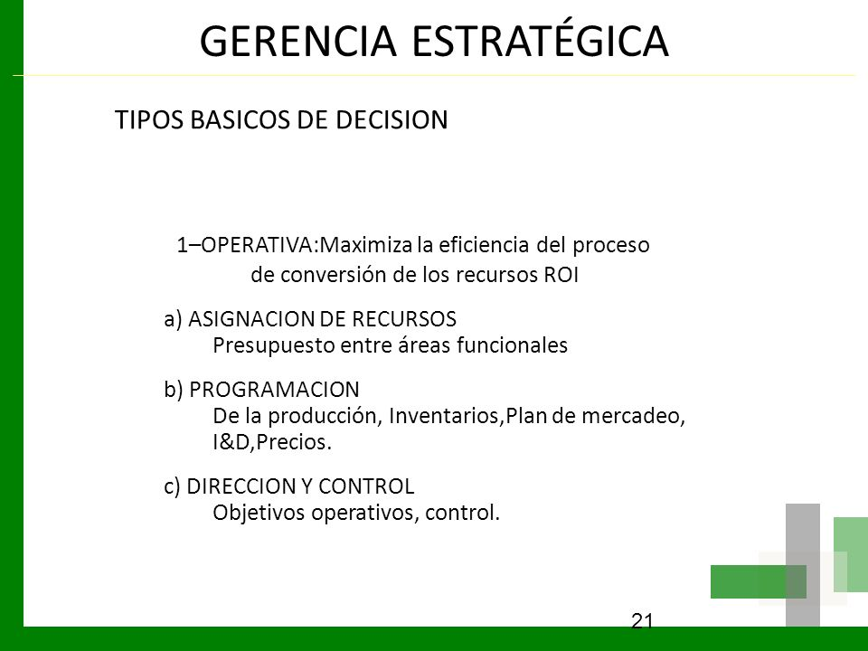 GERENCIA ESTRATÉGICA TIPOS BASICOS DE DECISION 1–OPERATIVA:Maximiza la eficiencia del proceso de conversión de los recursos ROI a) ASIGNACION DE RECUR