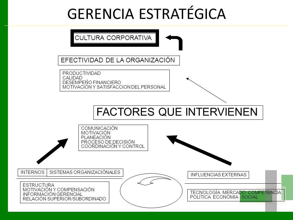GERENCIA ESTRATÉGICA CULTURA CORPORATIVA EFECTIVIDAD DE LA ORGANIZACIÓN PRODUCTIVIDAD CALIDAD DESEMPEÑO FINANCIERO MOTIVACIÓN Y SATISFACCION DEL PERSO
