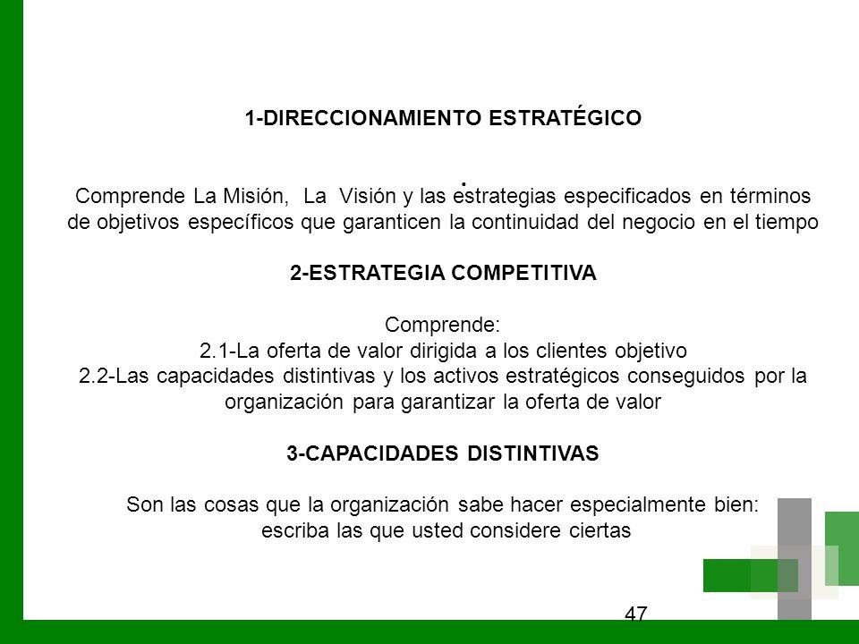 47. 1-DIRECCIONAMIENTO ESTRATÉGICO Comprende La Misión, La Visión y las estrategias especificados en términos de objetivos específicos que garanticen