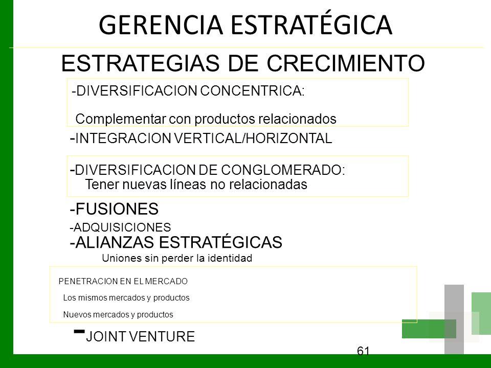 GERENCIA ESTRATÉGICA 61 ESTRATEGIAS DE CRECIMIENTO -DIVERSIFICACION CONCENTRICA: Complementar con productos relacionados - INTEGRACION VERTICAL/HORIZO