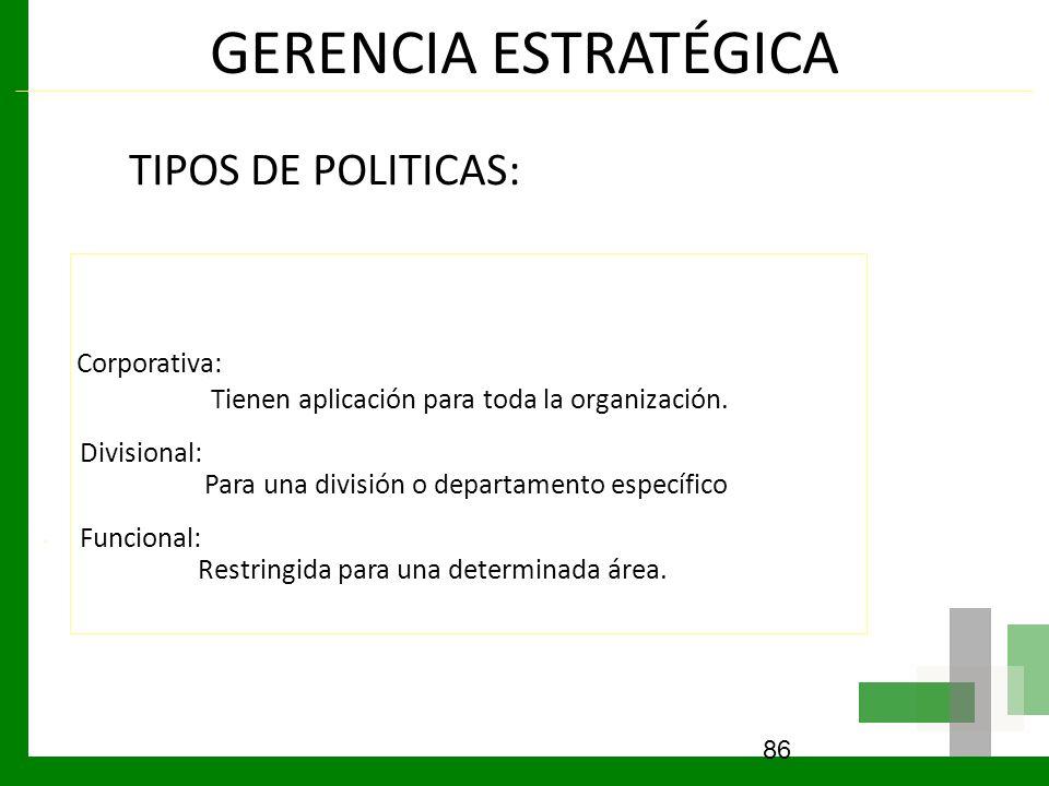 GERENCIA ESTRATÉGICA TIPOS DE POLITICAS: Corporativa: Tienen aplicación para toda la organización. Divisional: Para una división o departamento especí